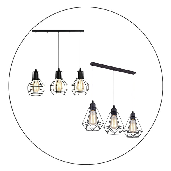 Retro Loft 3 Head Ceiling Light Shade Pendant Lamp With Bulbs