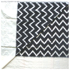 Black and White Waves Ikat Dupatta