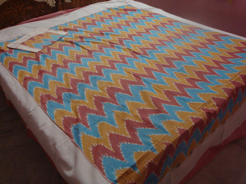 Bed Sheets - Pochampally Ikkat Double Cot Fine Cotton Bed Sheet - IP_BS_016