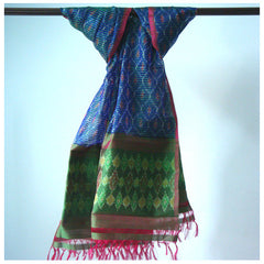 Blue and Green Colour Ikkat Silk Stole - IP_ST_003