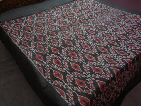 Double Cot Cotton Bed Sheet - Ikat Weaving - IP_BS_015