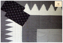 Grey Colour Pochampaaly Ikkat Bed Spread