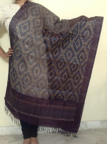 Violet colour Ikat Silk  Dupatta - IP_DU_005