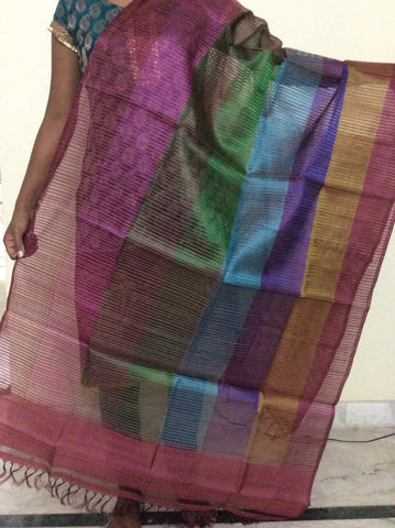 Multicolour Tussar Silk Dupatta - IP_DU_001