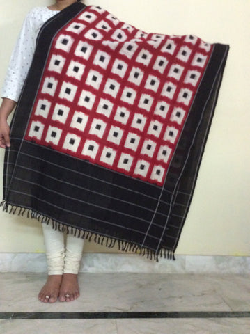 Pochampally Ikkat Cotton Dupatta - Black, White and Red - IP_DU_013