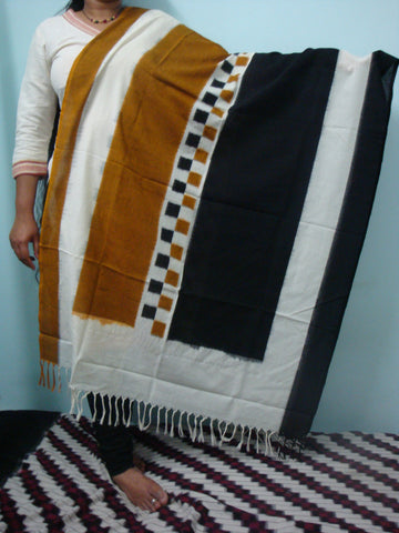 Pochampally Ikkat Cotton Dupatta with Black and Brown Checks - IP_DU_018