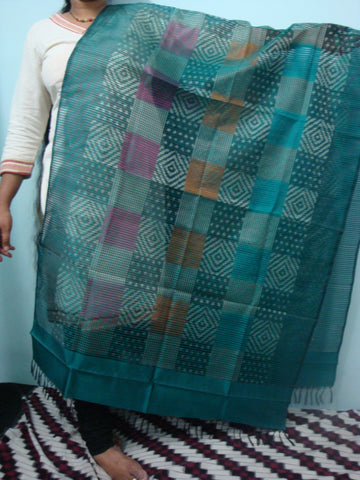 Blue Ikkat Silk Dupatta - IP_DU_012