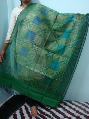 Green Ikkat Silk Dupatta -  IP_DU_009