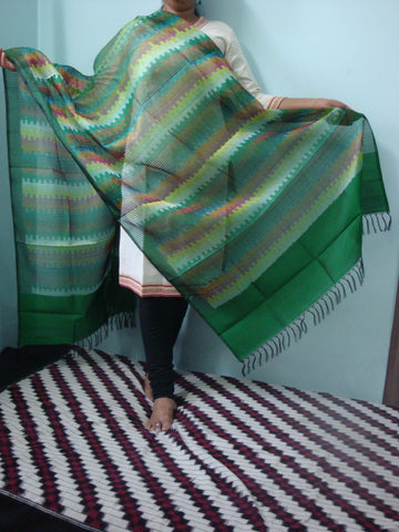Pochampally Ikkat Silk Dupatta in Missed weaving - IP_DU_022