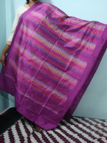 Ikkat Silk dupatta in violet pink shade - IP_DU_007