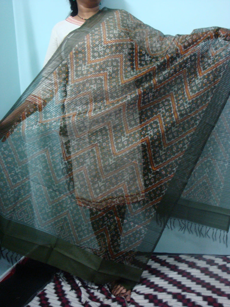 Grey Pochampally Silk Dupatta - IP_DU_025