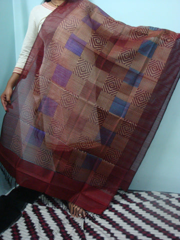 Dark Red Ikkat Silk Dupatta - IP_DU_010