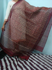 Dark Red Ikkat Silk  Dupatta- IP_DU_020