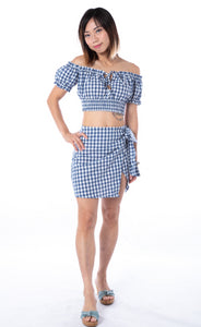 Bondi Gingham Wrap Skirt