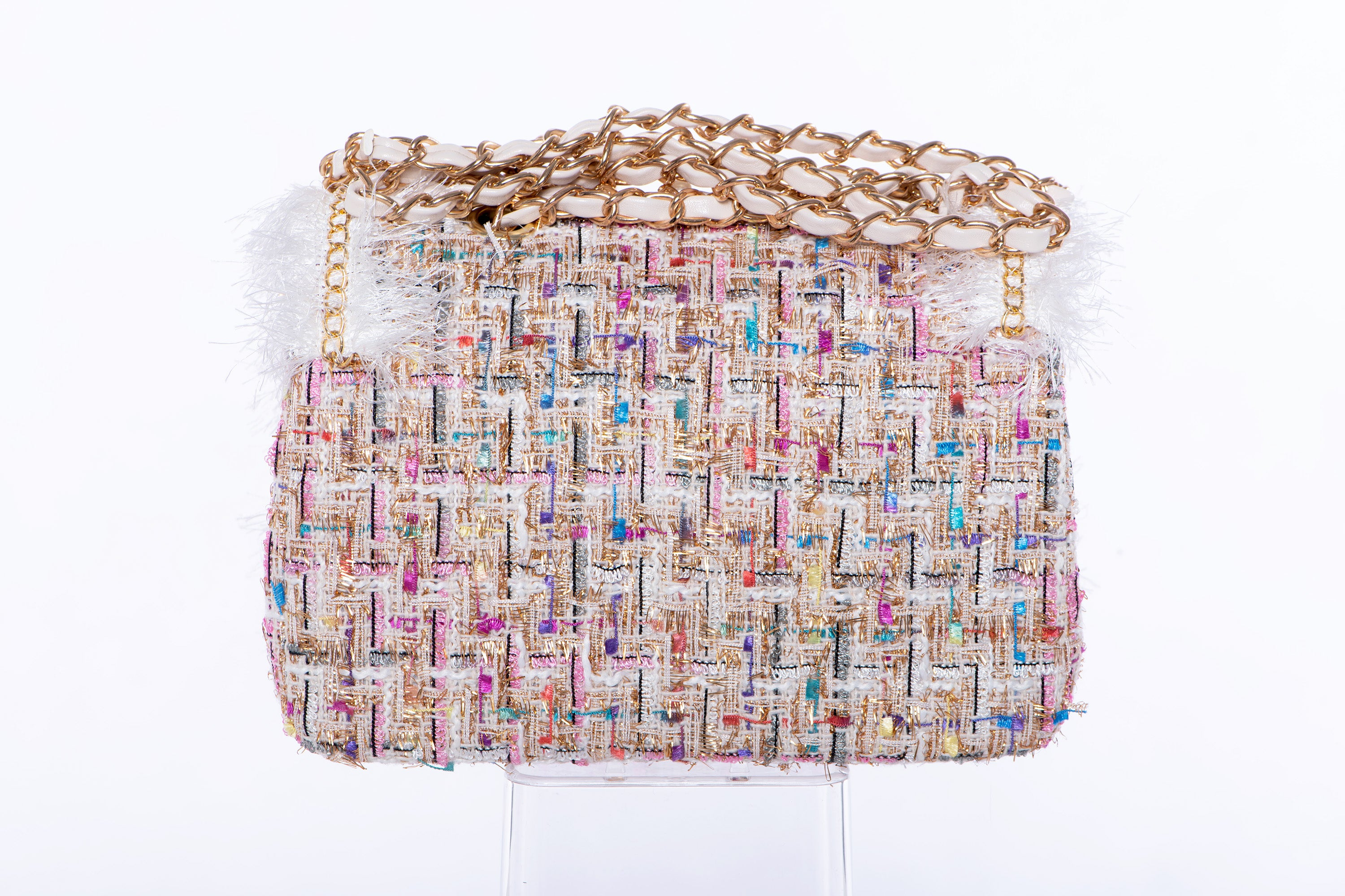 Darlene Tweed Handbag in Rainbow Cream