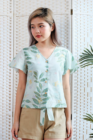 Edwina Flutter Sleeve Blouse in Mint