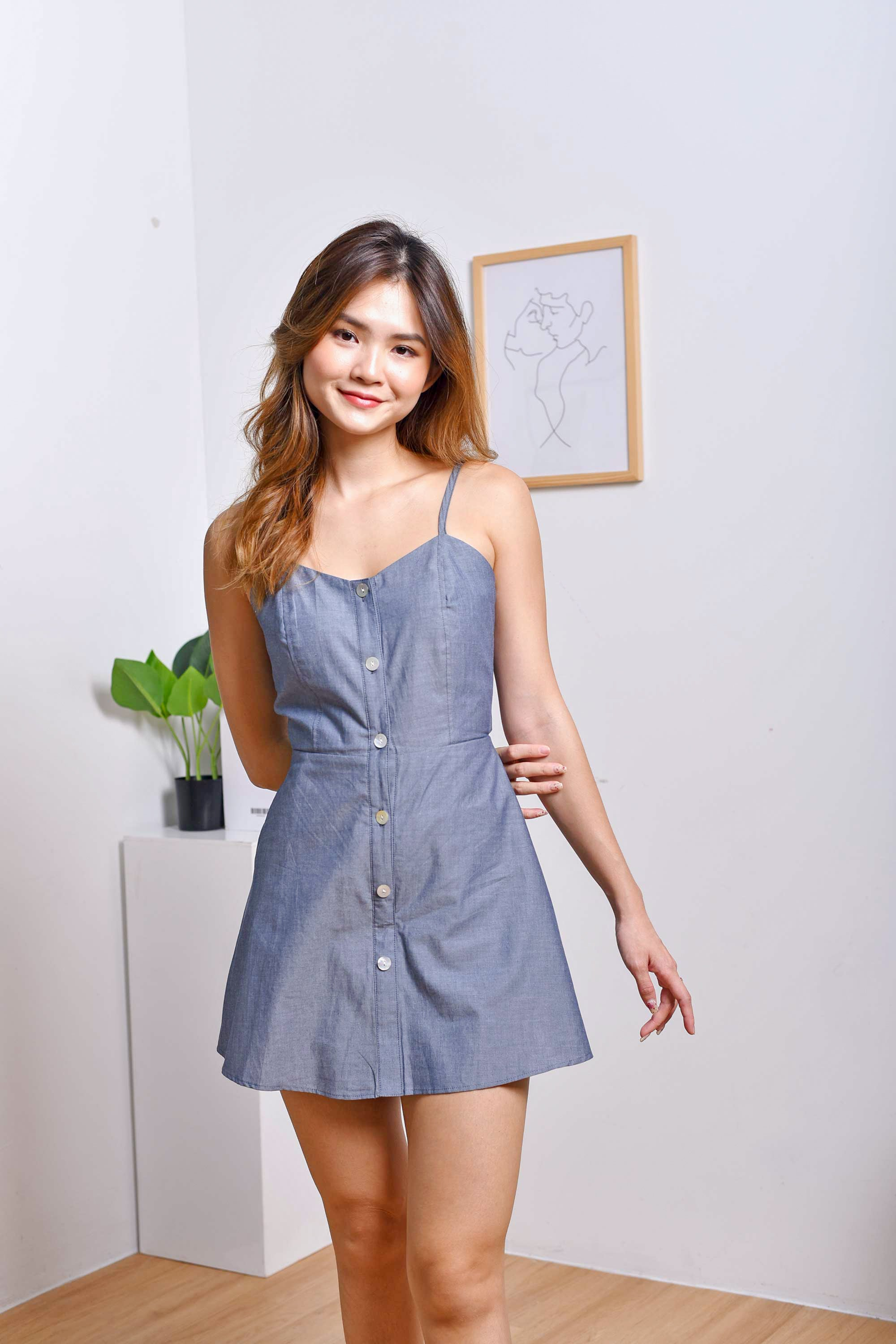Terry Romper Dress in Denim Blue
