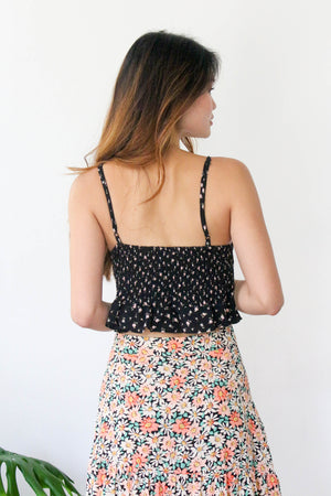 Nicole Floral Top in Black