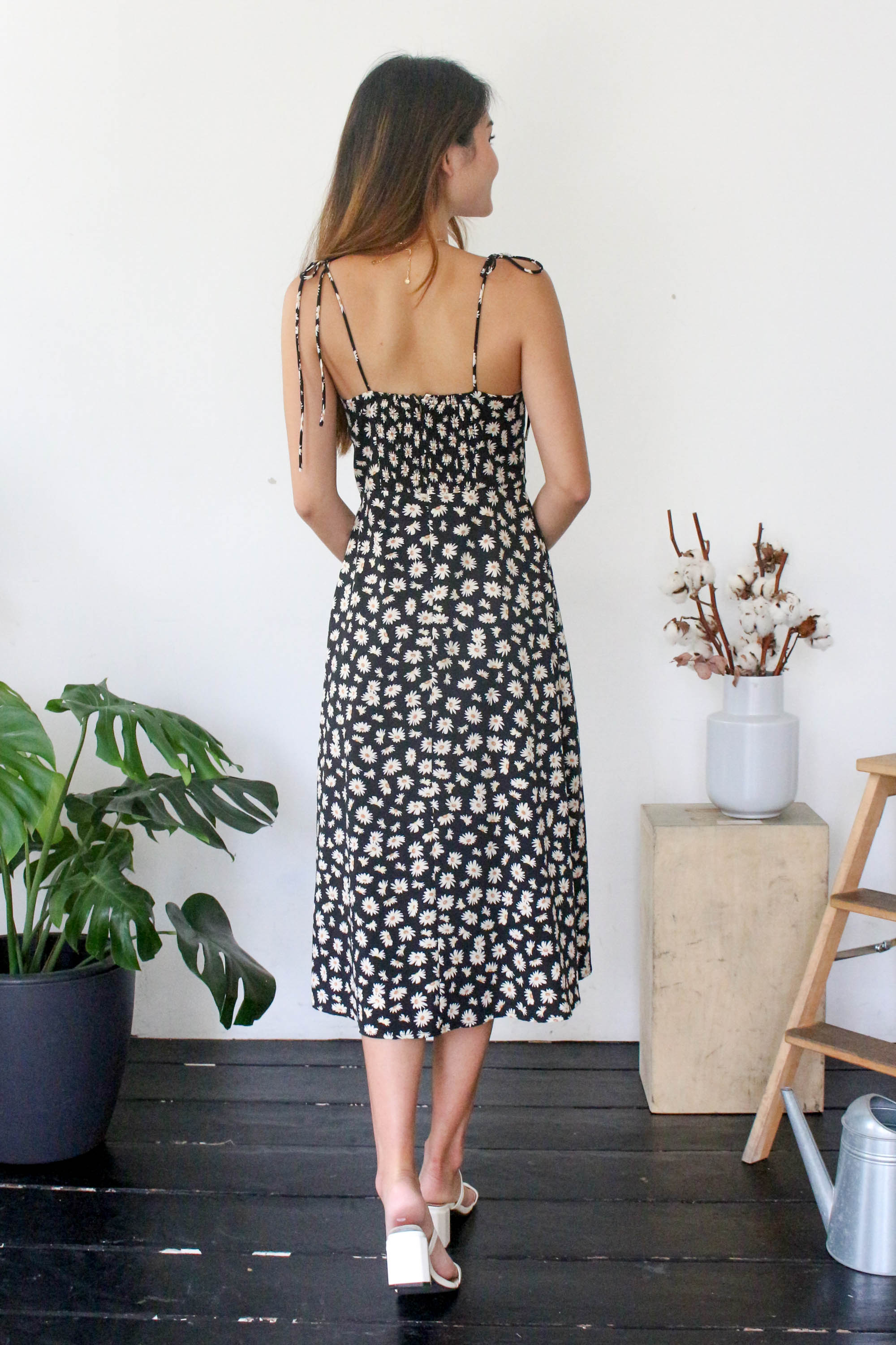 Bethany Floral Dress in Black
