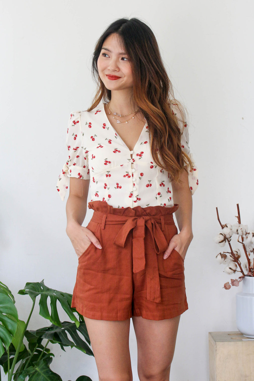 Cherries & Creme Crop Top