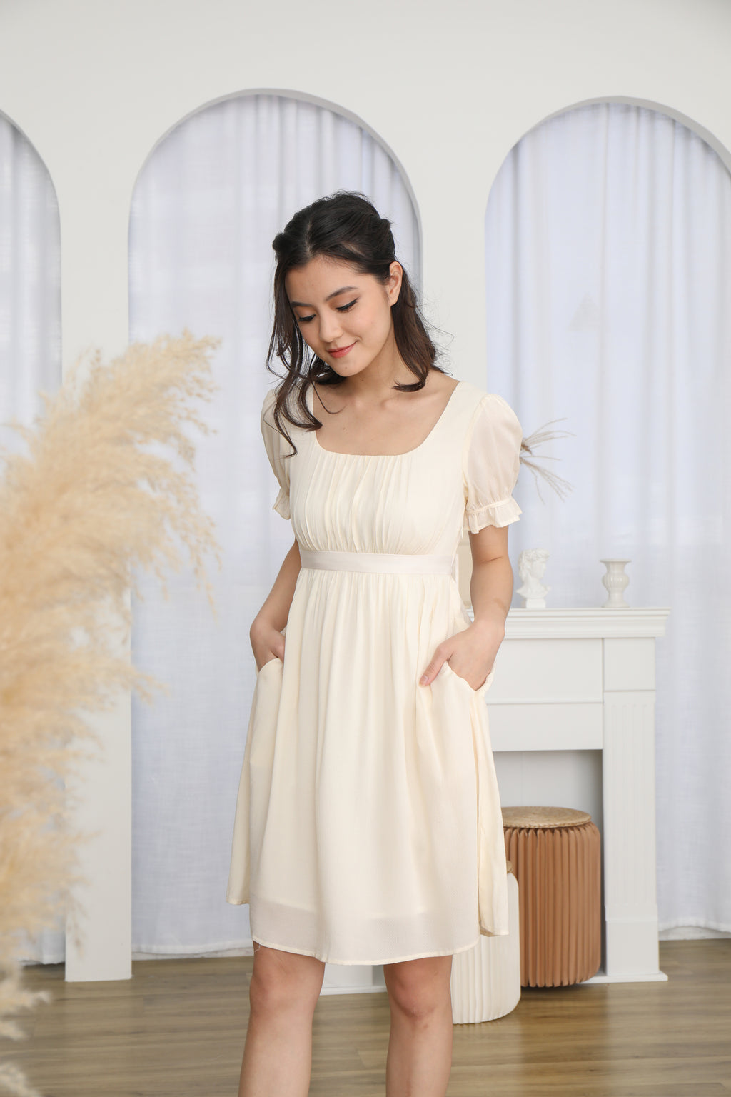 Francesca Baby Doll Dress in Cream