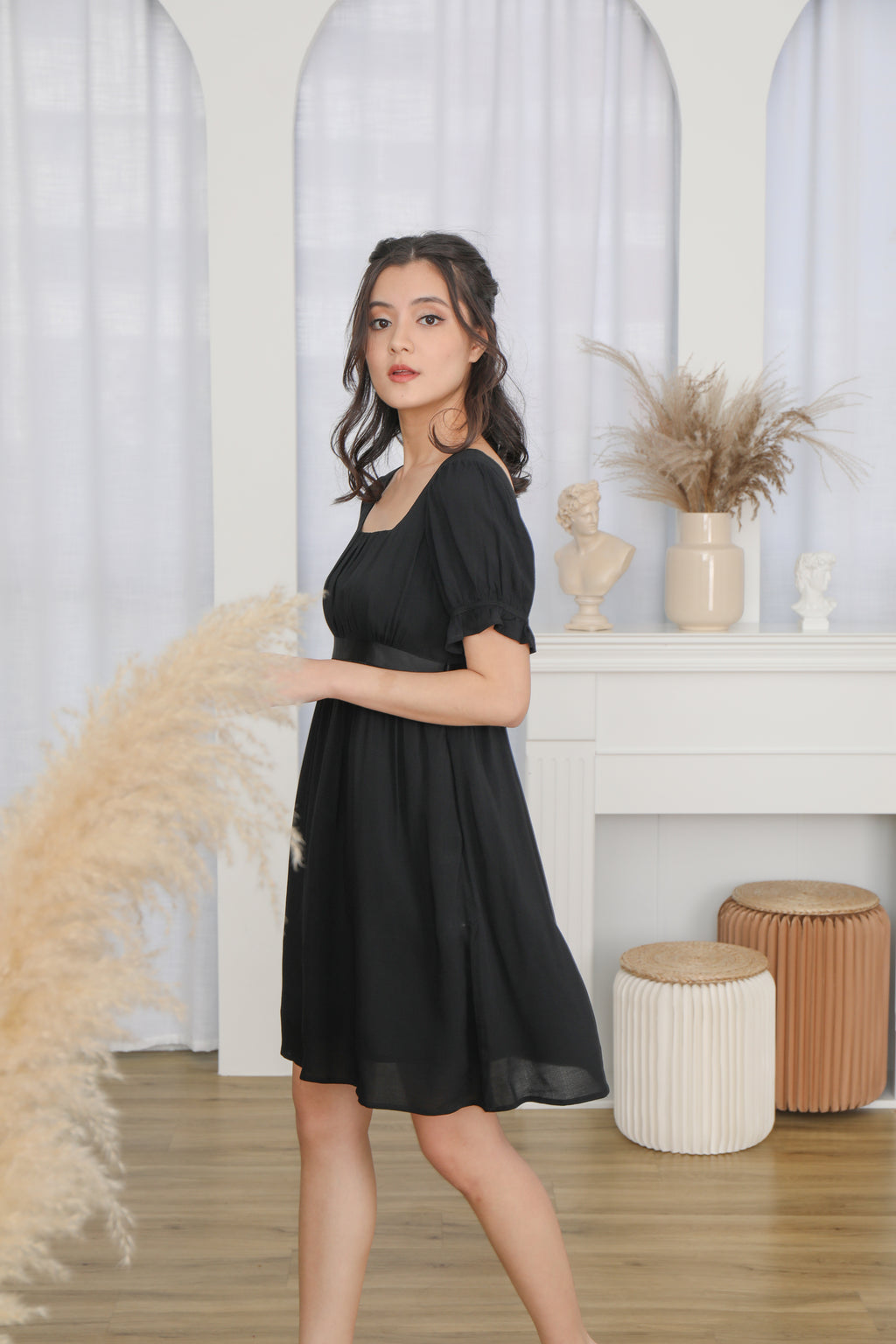 Francesca Baby Doll Dress in Black