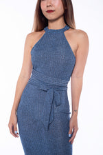 Kaisy Knit Midi Dress in Blue