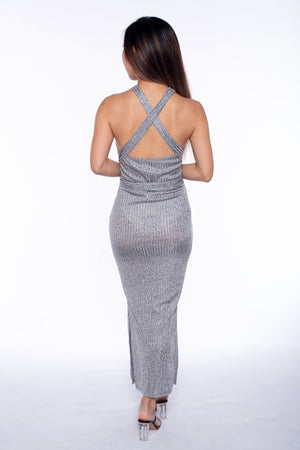 Kaisy Knit Midi Dress in Silver