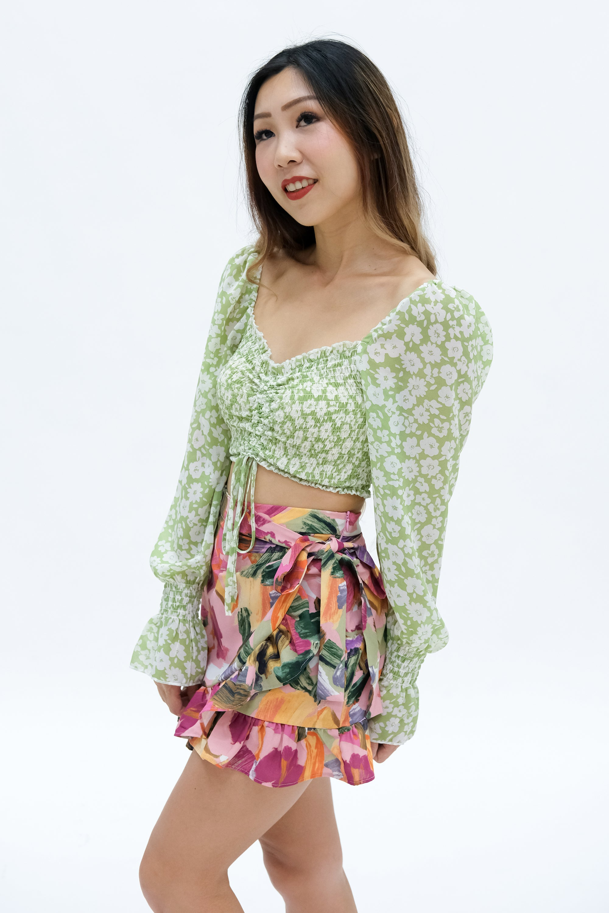 Leah Ruched Crop Top in Green Floral