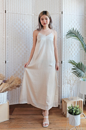 Lizzie Polka Maxi Dress in Sand