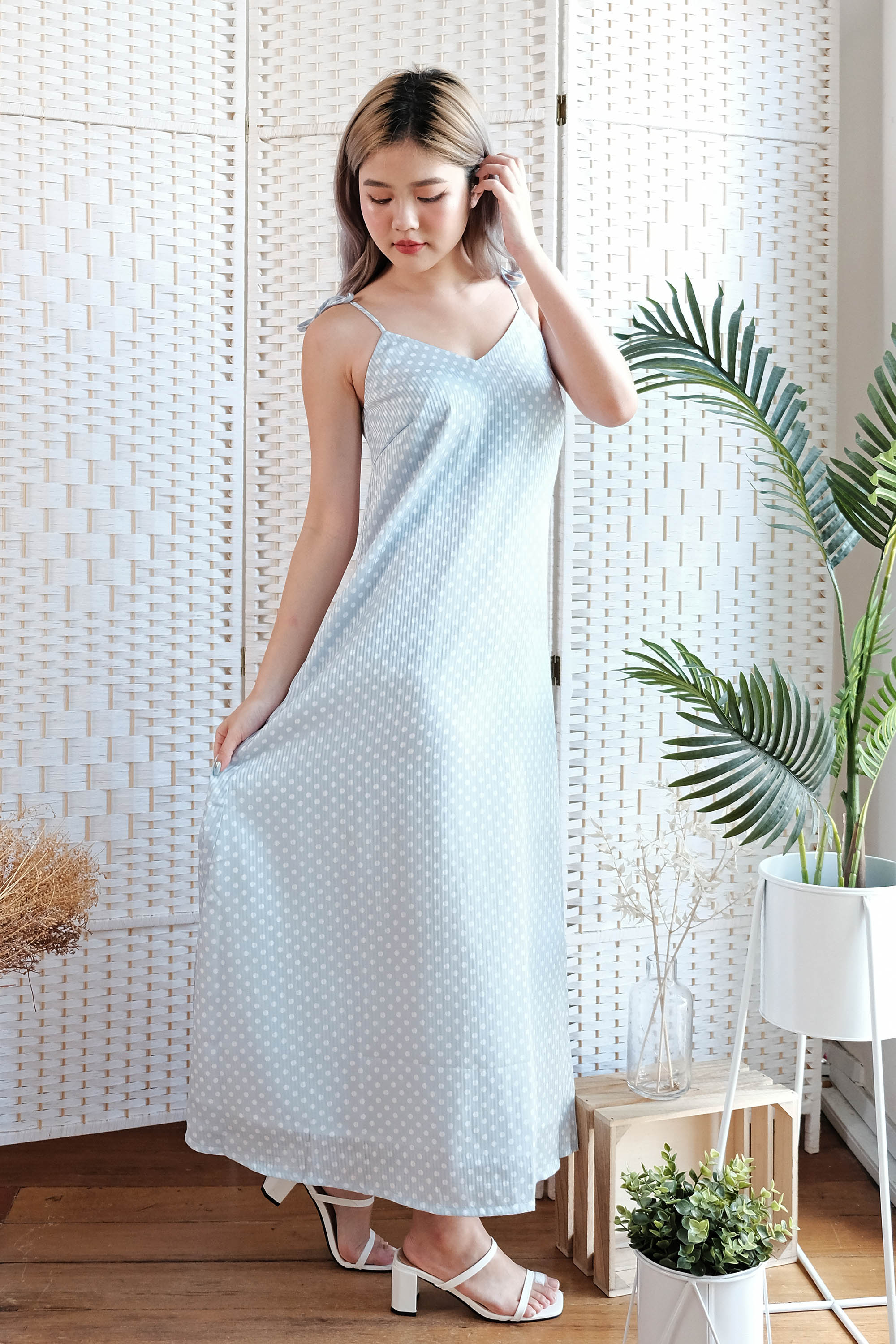 Lizzie Polka Maxi Dress in Sky