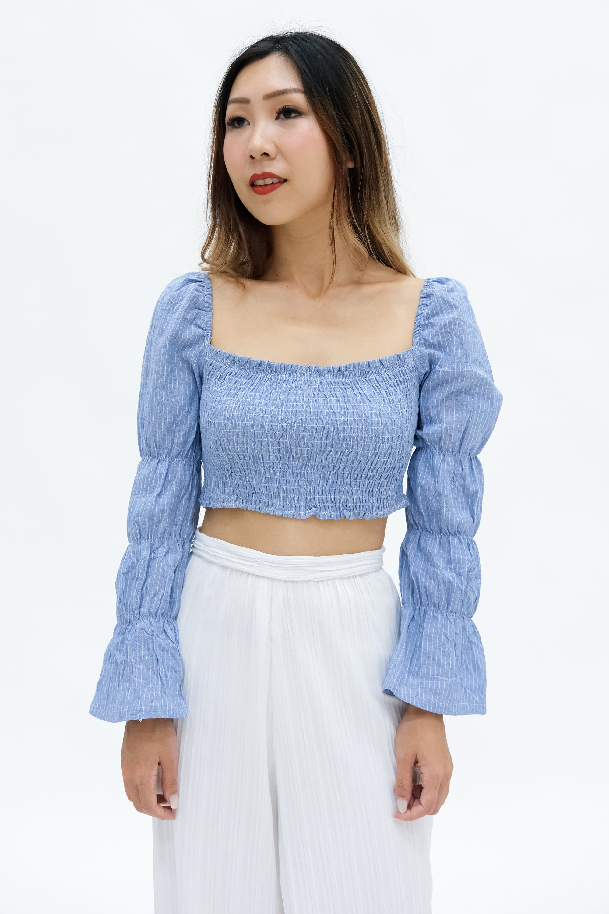 Sarah Smocked Crop Top in Blue