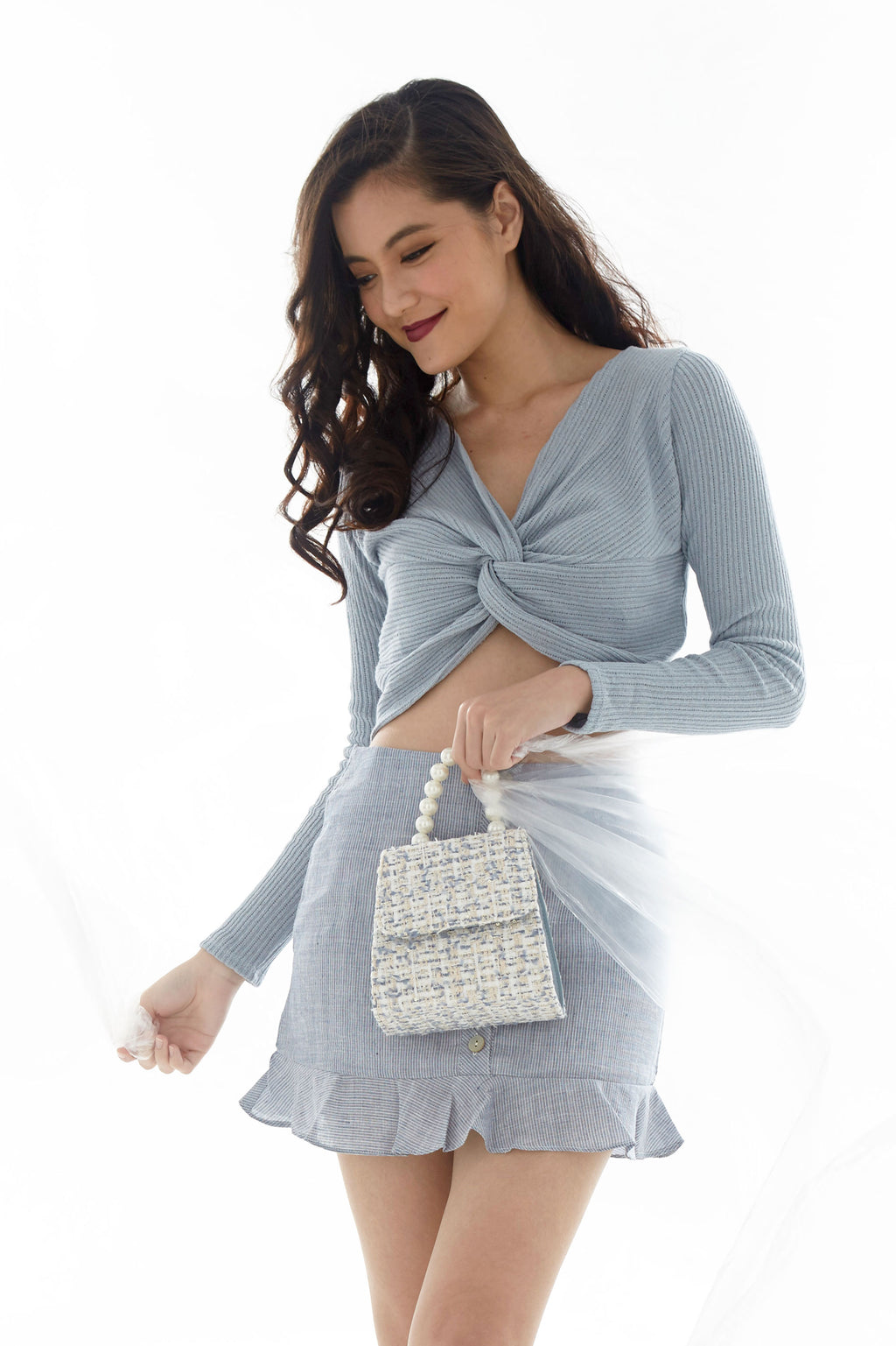 Seraphina Tweed Pearl Handbag in Powder Blue