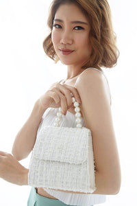 Seraphina Tweed Pearl Handbag in White