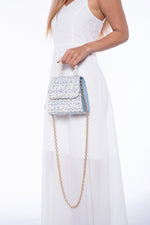 Seraphina Tweed Pearl Handbag in Powder Blue (Backorder)