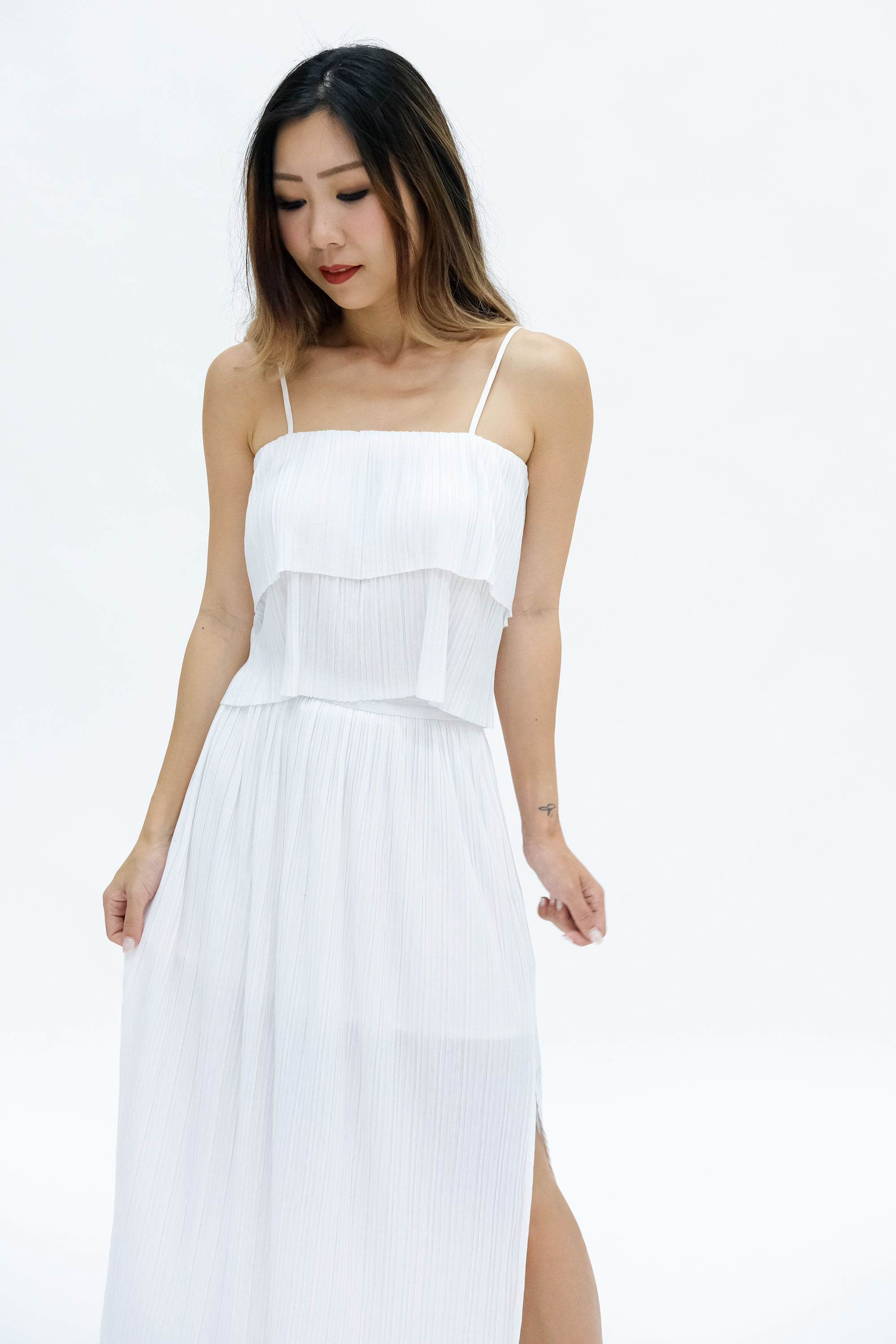 Sonja Pleated Crop Top in White
