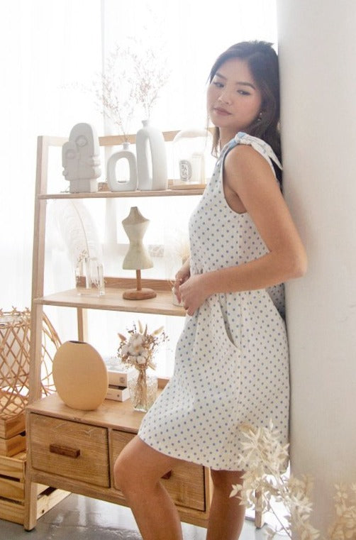 Tracie Dress in Sky Polka