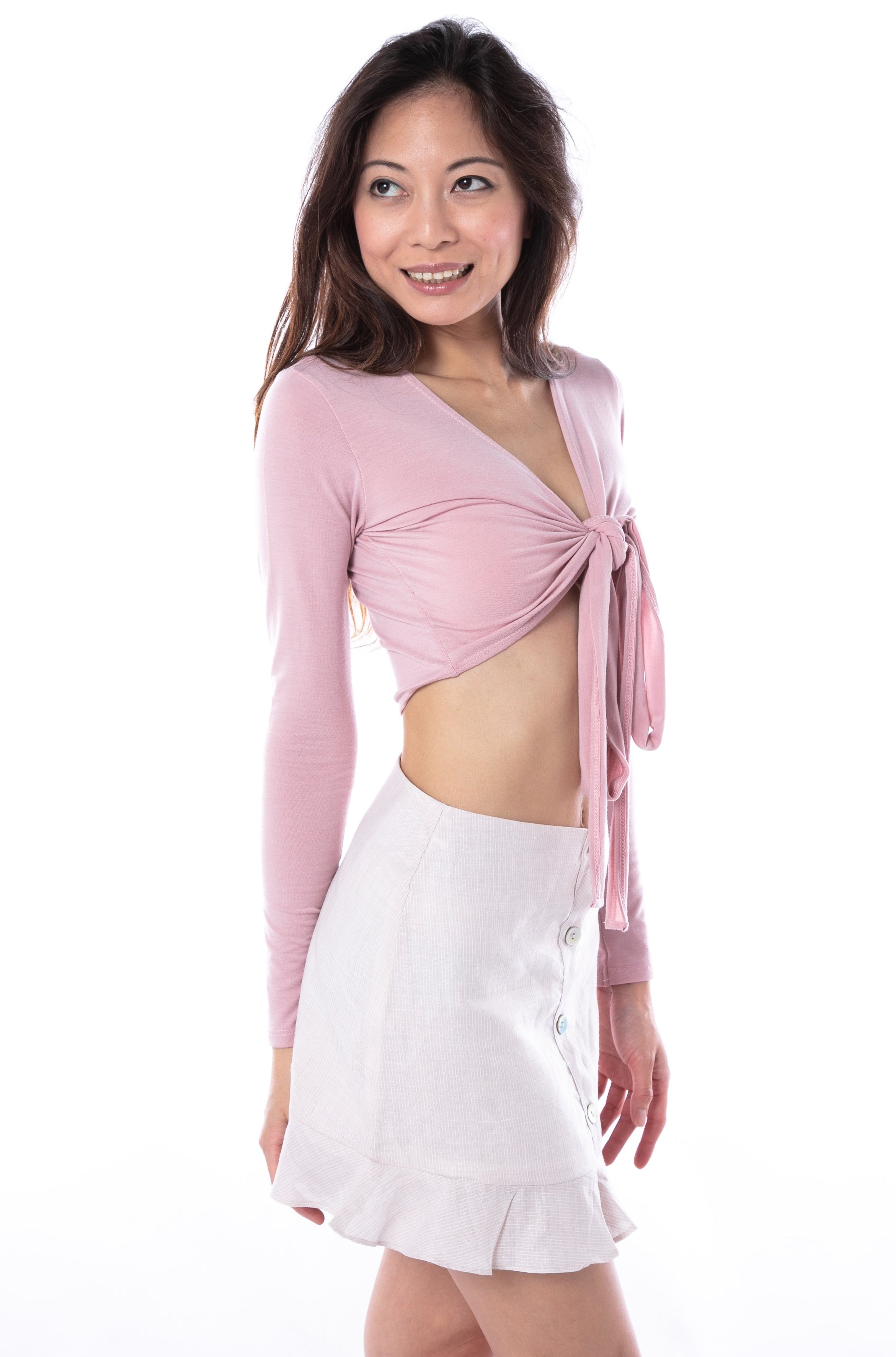 Mathilde Wrap Top in Pink
