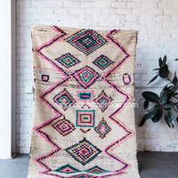 Azilal rugs, white, pink, purple dance of colours. Berber Colourful Handmade Rug.
