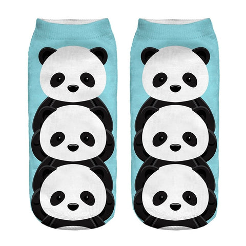 New Design 3D Panda Sky Blue Polyester Socks - Pandarling