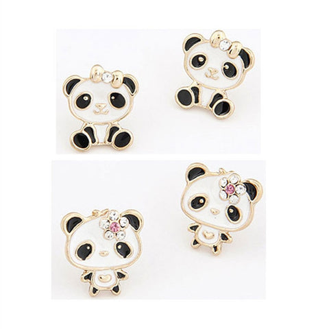 New Cute Panda Earrings Enamel Rhinestone earrings - Pandarling