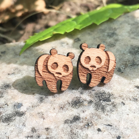 Panda engraved cute earrings panda wooden earrings - Pandarling