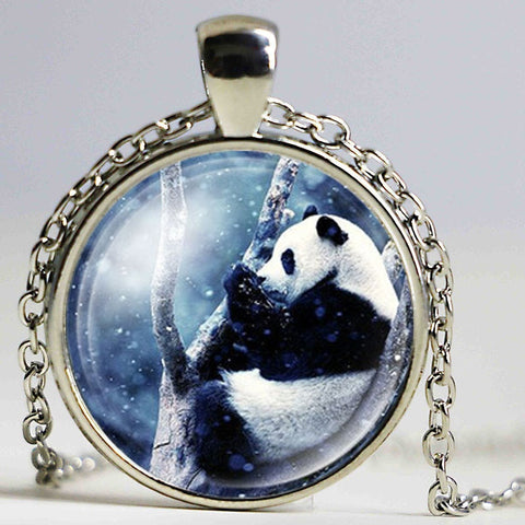 Giant Panda Bear Glass Pendant Ball Chain Necklace Gifts - Pandarling