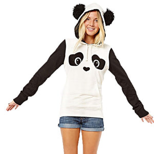 Fashion Women Panda Hooded White Sweatshirts - Pandarling