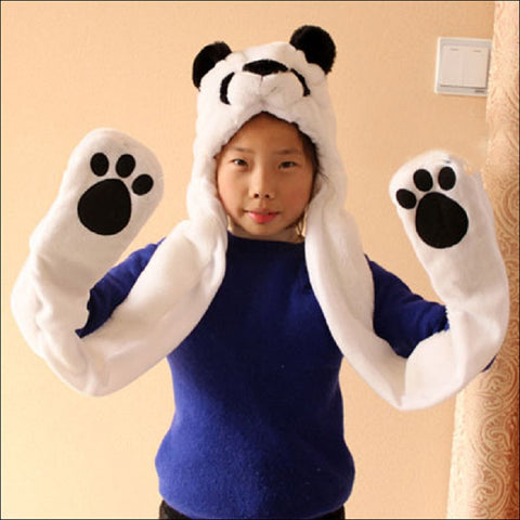 Panda Cartoon Kids Adult Hats Ears Warm Scarf Gloves - Pandarling