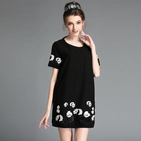 Women Short sleeve Sequin Panda Pattern Plus Size Dresses - Pandarling