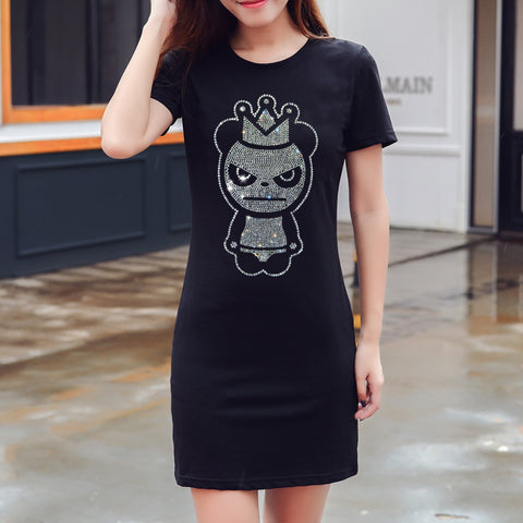 Short-sleeved Long T-shirt Panda Hot Sale Diamond Women's Dress - Pandarling