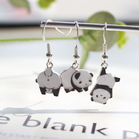 Cute Sticker Panda Metal Earrings For Women - Pandarling