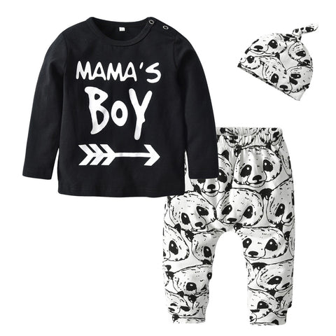 Boy T-shirt + Panda Pants + Hat Baby Boys Clothing Set - Pandarling