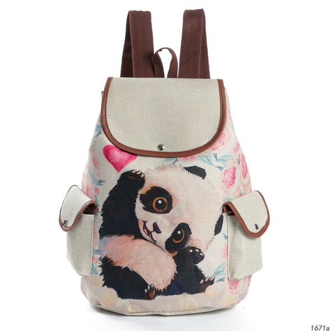 Cute Panda Printed Drawstring Backpack Female - Pandarling